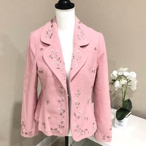 Karen Kane Pink Beaded Wool Blazer
